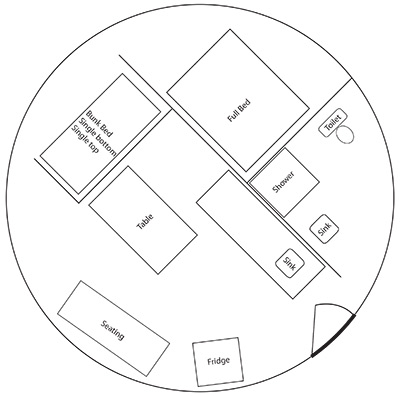 Yurts w/ satellite TV Floor Plan